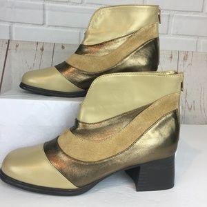 AJ Valenci Leather 1970s Square Toe Ankle Boots